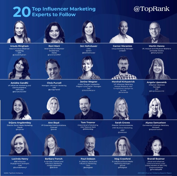 B2B influencer marketing pros from top brands