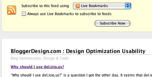 Firefox's Feed Display