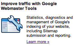 Google Webmaster Tools Button