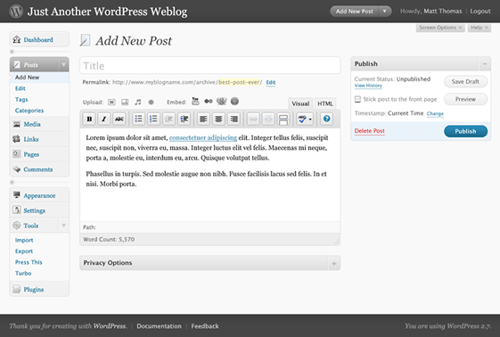 New Post - WordPress 2.7