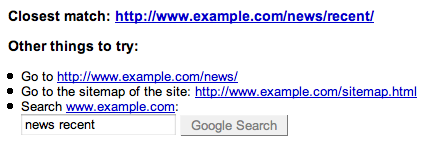 Google Webmaster Tools Enhanced 404 Error Pages