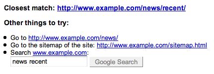 Google Webmaster Tools Enhanced 404 Error Pages