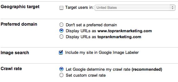 Google Webmaster Tools Site Defaults