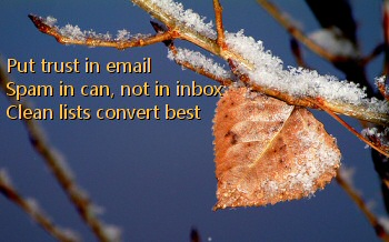 Put trust in email - Spam in can, not in inbox - Clean lists convert best
