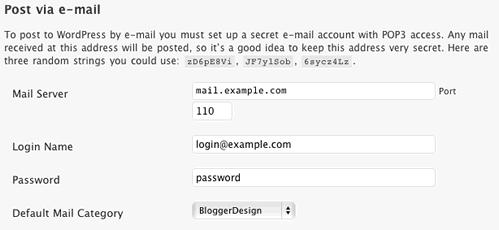 Post via eMail Settings