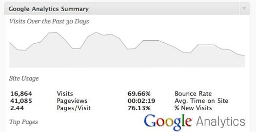Google Analytics via Google Analyticator