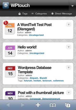 Mobile Theme with WPtouch iPhone Theme