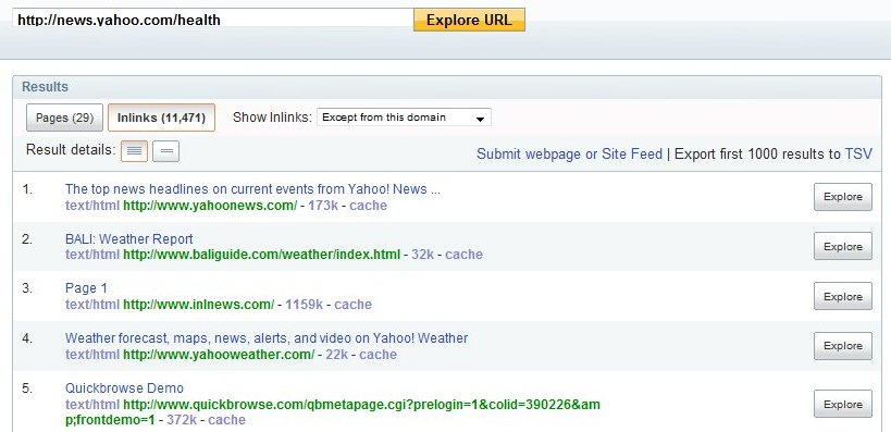 yahoo site explorer inlinks