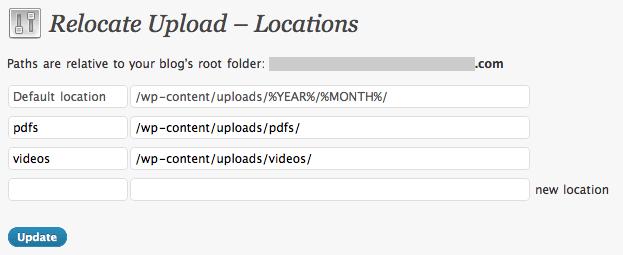 Relocate Upload Settings