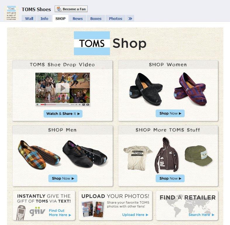 Toms Shoes Facebook