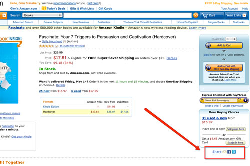 sample amazon product page with share tools