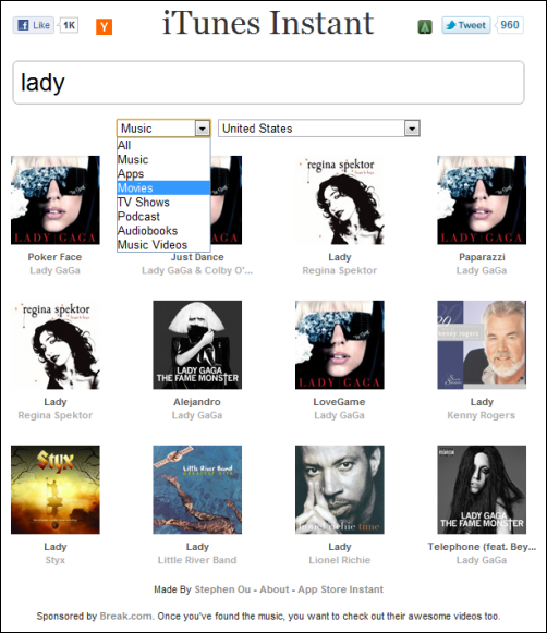 itunes instant search