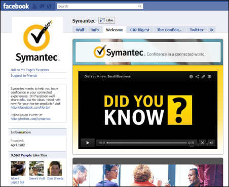 B2B Facebook Fan Page Symantec