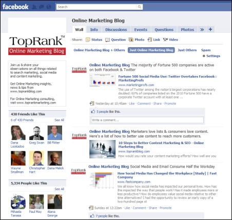 b2b facebook fan page