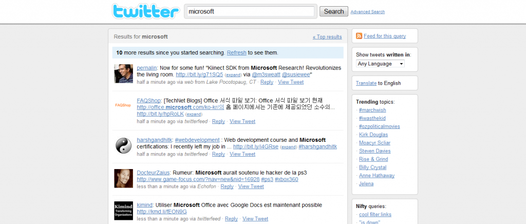 Search Twitter, Microsoft, Twitter monitoring, brands online