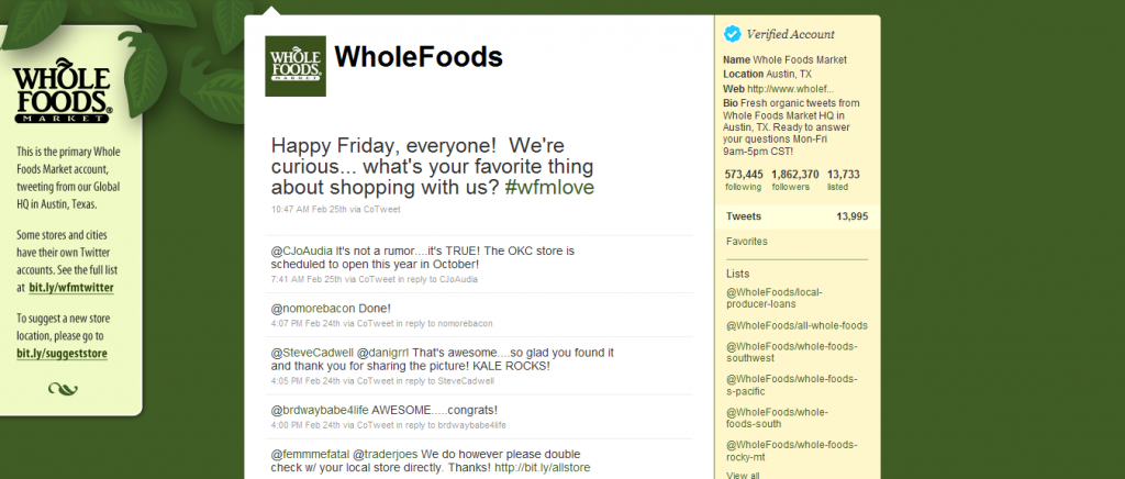 Twitter marketing, Whole Foods, Customer service, Retail stores
