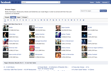 Facebook Browse Fan Pages