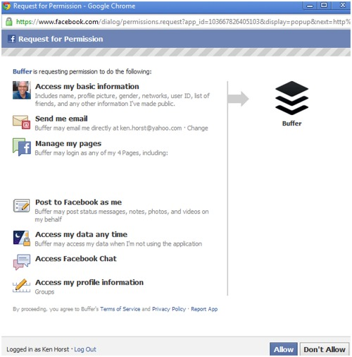 Buffer Facebook authorizaton