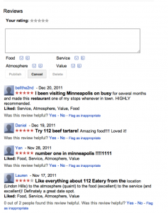 Example of Google My Business Reviews