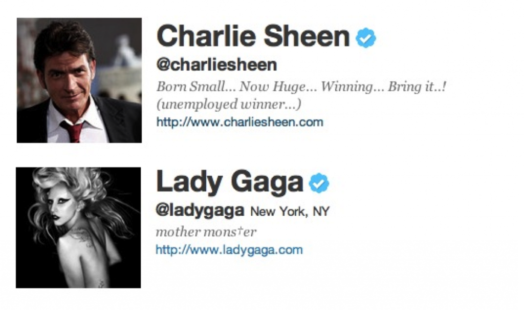 Lady Gaga and Charlie Sheen Twitter
