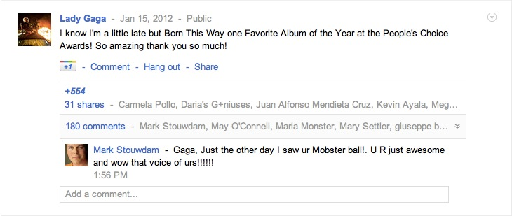 Lady Gaga Google+ Post