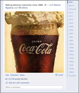 coca cola facebook timeline