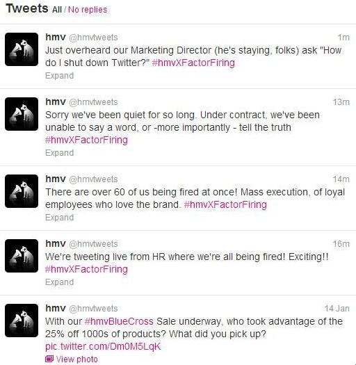 #hmvxfactorfiring Twitter crisis for HMV retailer