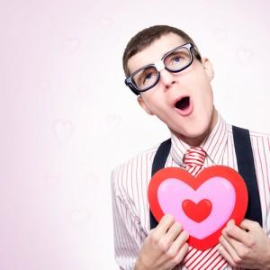 nerd holding heart