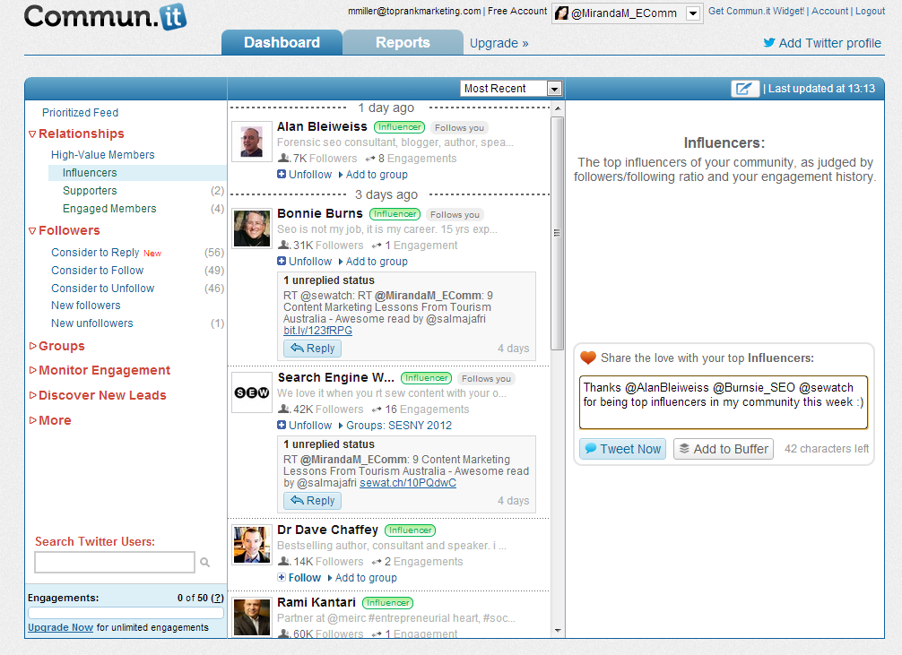 Commun.it Twitter Community Management dashboard