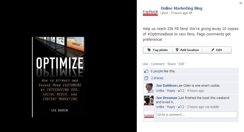 Win a copy of Optimize on TopRank's Facebook
