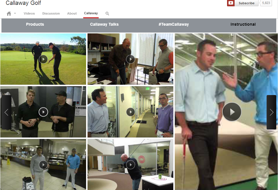 Callaway Golf video content on YouTube
