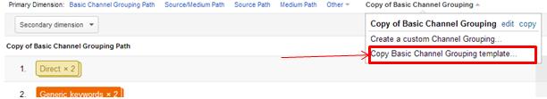 Create custom channel grouping in Google Analytics