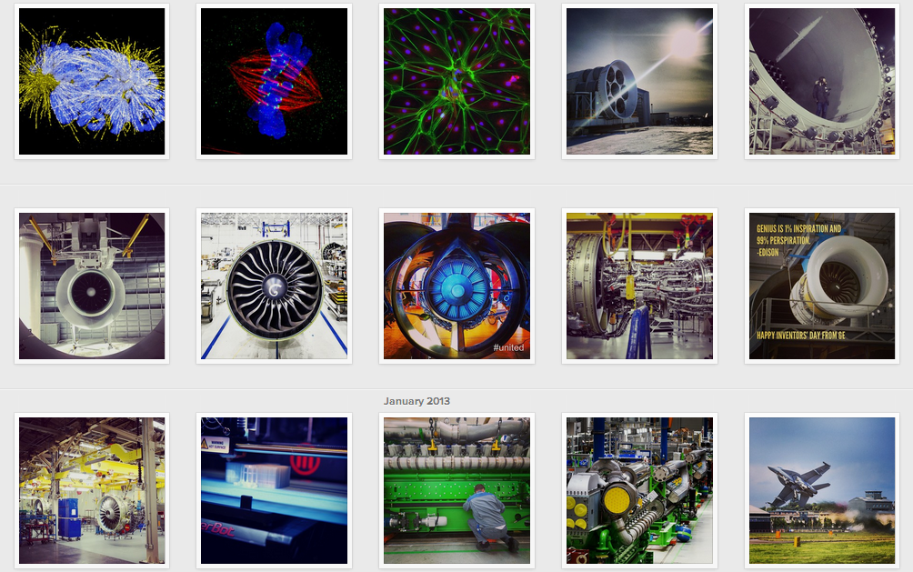 General Electric's visual content on Instagram