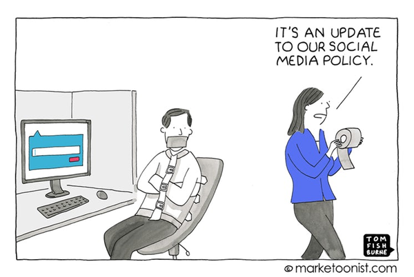 Marketoonist Social Media Policy Cartoon