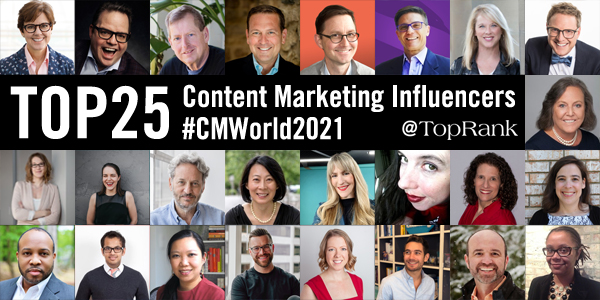2021 Content Marketing World 25 Content Marketing Influencers Collage Image