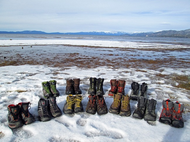 Row of Hiking Boots in the Snow