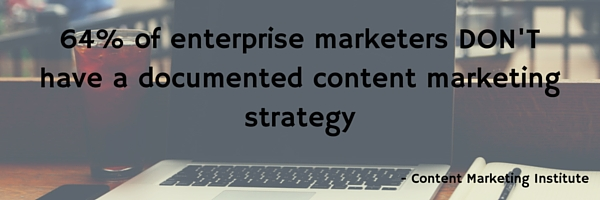64% of enterprise marketers DON'T have a documented content marketing strategy