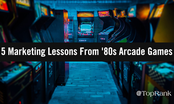 Video arcade filled with 1980s-era stand-up video game cabinets image.