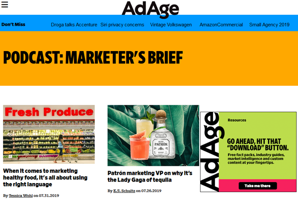 AdAge Marketers Brief Image