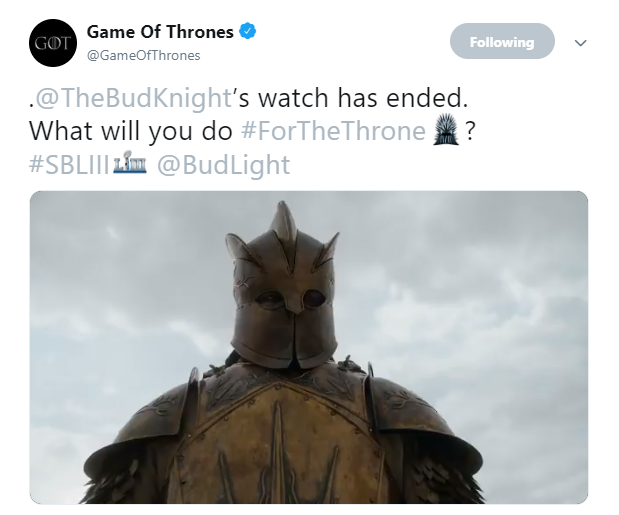 Game of Thrones Bud Knight on Twitter