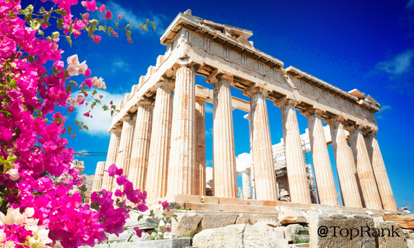 Fresh flower beside ancient Parthenon.