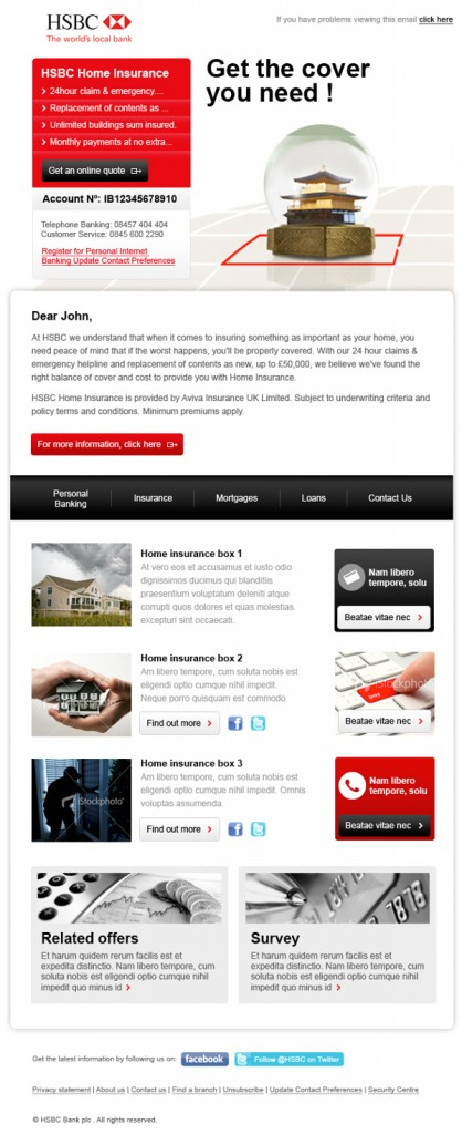HSBC email newsletter