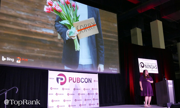 Microsoft's Purna Virji at Pubcon Las Vegas 2018 Photo by Lane R. Ellis