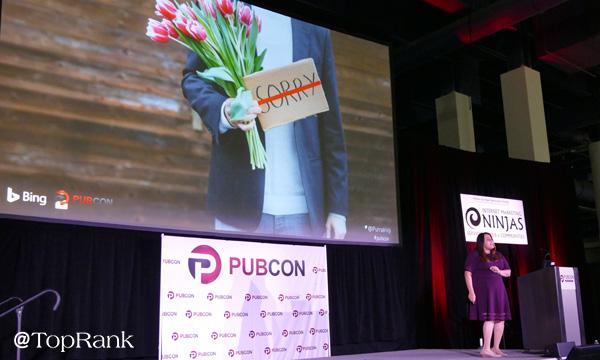 Microsoft's Purna Virji at Pubcon Las Vegas 2018 Photo by Lane R. Ellis