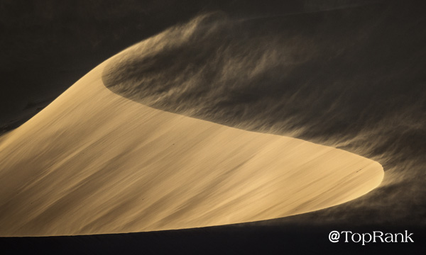 Blowing sand dunes image.