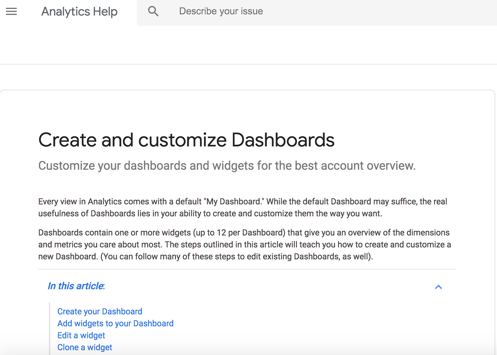 Google Analytics Custom Dashboards