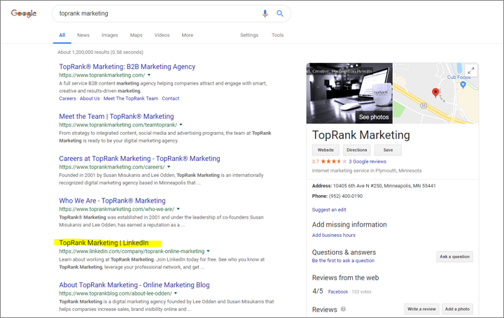 example of social media content showing up in search results