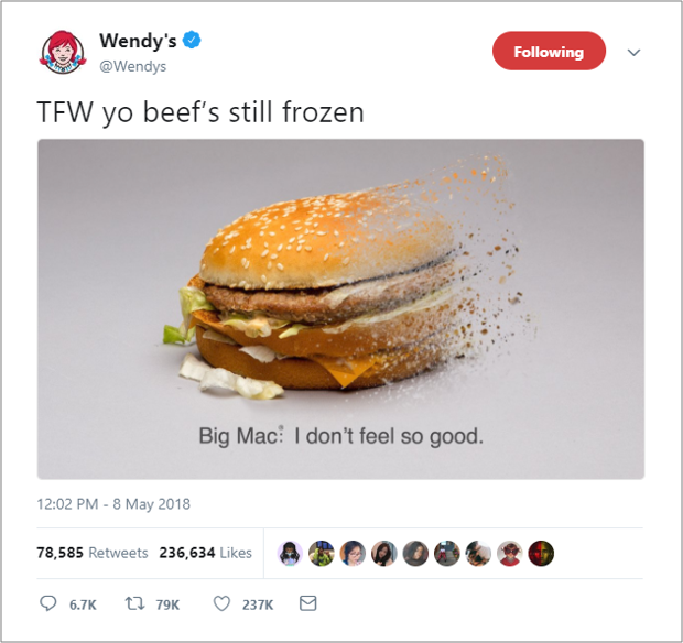 Wendy's Custom Image Example on Twitter
