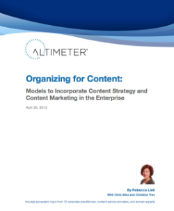 Organizing for Content - Altimeter Group