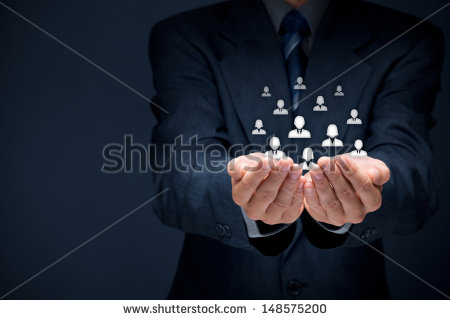 businessperson holding floating icons in cupped hands